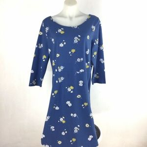 Old Navy Daisy Print Dress Floral Blue Cotton